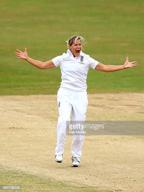 Katherine Brunt of England appeals successfully for the wicket of Jess Jonassen of Australia during day two of the Kia Women's Test of the Women's...
