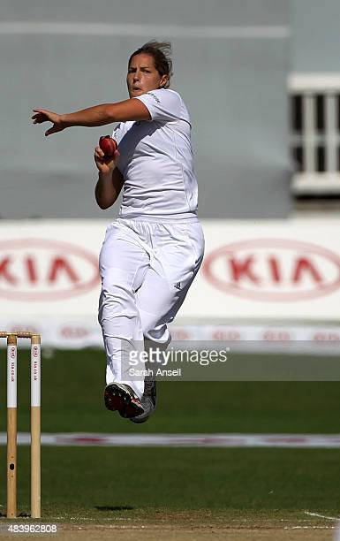 Katherine Brunt of England bowls during day four of the Kia Women's Test of the Women's Ashes Series between England and Australia Women at The...