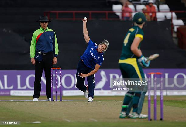 Katherine Brunt of England bowls during the 1st Royal London ODI of the Women's Ashes Series between England Women v Australia Women at The County...
