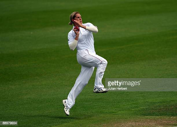 Katherine Brunt of England bowls during The 2nd Day of The 1st Test between England Women and Australia Women at New Road on July 11, 2009 in...