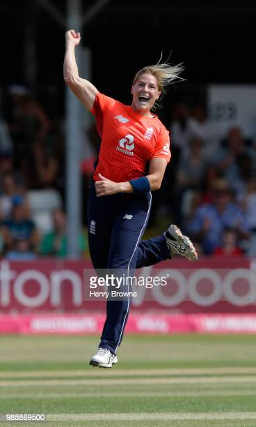 Katherine Brunt of England celebrates after taking the wicket of Katey Martin of New Zealand during the International T20 TriSeries Final between...