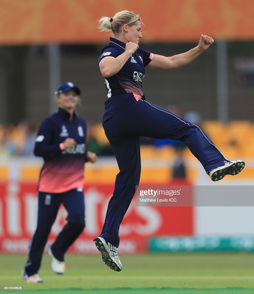 Katherine Brunt of England celebrates bowling Javeria Khan of Pakistan during the ICC Women's World Cup 2017 match between England and Pakistan at Grace Road on June 27, 2017 in Leicester, England.