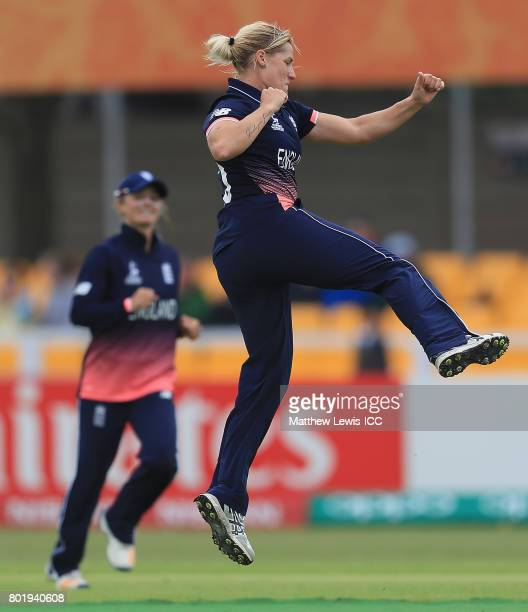 Katherine Brunt of England celebrates bowling Javeria Khan of Pakistan during the ICC Women's World Cup 2017 match between England and Pakistan at...