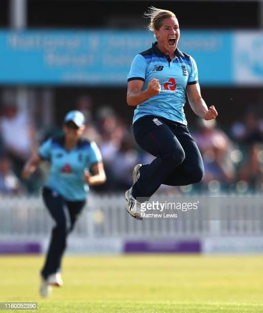 Katherine Brunt of England celebrates bowling Meg Lanning of Australia during the 2nd Royal London Women's ODI match between England and Australia at...