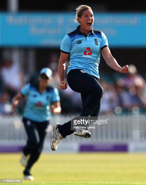 Katherine Brunt of England celebrates bowling Meg Lanning of Australia during the 2nd Royal London Women's ODI match between England and Australia at...