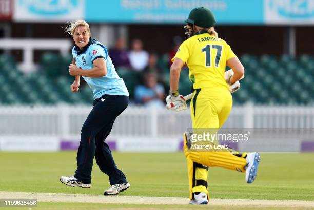 Katherine Brunt of England celebrates bowling Meg Lanning of Australia for LBW during the 1st Royal London Women's ODI between England and Australia...