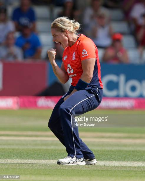 Katherine Brunt of England celebrates during the International T20 TriSeries Final between England and New Zealand at Cloudfm County Ground on July 1...