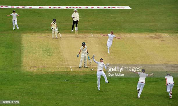 Katherine Brunt of England celebrates taking the wicket of Elyse Villani of Australia during day three of the Kia Women's Test of the Women's Ashes...