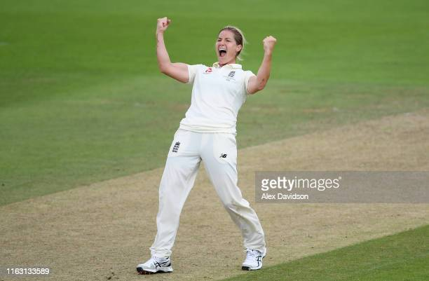 Katherine Brunt of England celebrates taking the wicket of Jess Jonasson of Australia during Day Three of the Kia Women's Test Match between England...