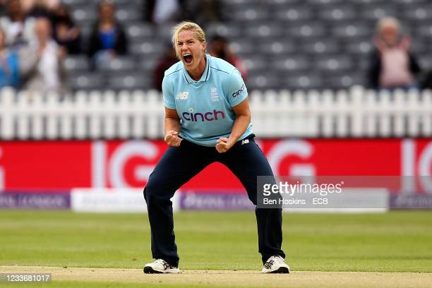 Katherine Brunt of England celebrates taking the wicket of Shafali Verma of India during the women's first one day international between England and...