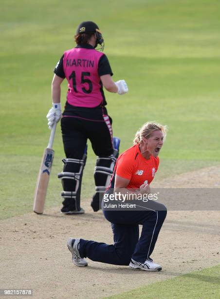 Katherine Brunt of England celebrates the wicket of Sophie Devine of New Zealand during the International T20 TriSeries match between England Women...