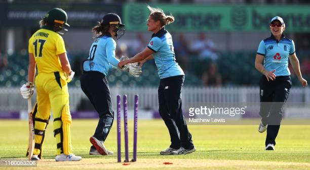 Katherine Brunt of England celebrateswith Amy Jones of England after bowling Meg Lanning of Australia during the 2nd Royal London Women's ODI match...