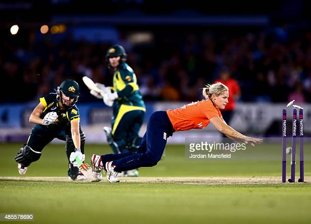 Katherine Brunt of England dives to run out Jess Jonassen of Australia during the 2nd NatWest T20 of the Women's Ashes Series between England and...