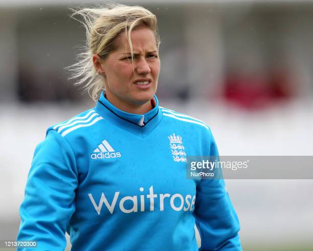 Katherine Brunt of England during the First One Day International between England Women and India Women at Scarborough CC, North Marie Road,...