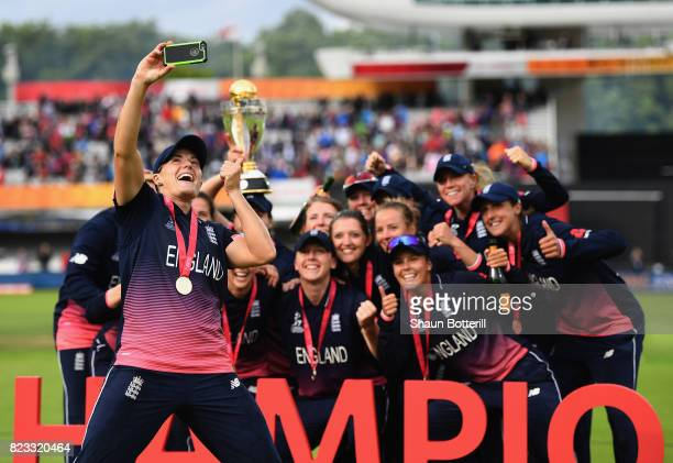 Katherine Brunt of England poses for a selfie with team-mates after winning the ICC Women's World Cup 2017 Final between England and India at Lord's...