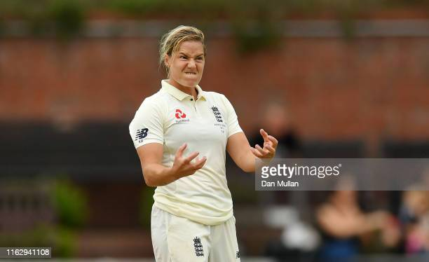 Katherine Brunt of England reacts after bowling during day two of the Kia Women's Test Match between England Women and Australia Women at The Cooper...
