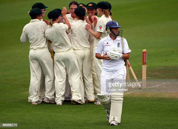 Katherine Brunt of England walks off after her dismissal on The 3rd Day of The 1st Test between England Women and Australia Women at New Road on July...
