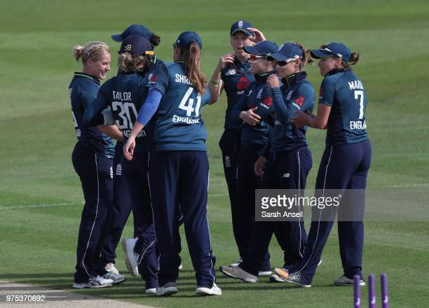 Katherine Brunt of England Women celebrates with teammates after dismissing Dane van Niekerk of South Africa Women during the 3rd ODI of the ICC...