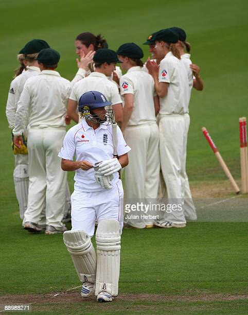 Katherine Brunt of Englandwalks off after her dismissal on The 3rd Day of The 1st Test between England Women and Australia Women at New Road on July...