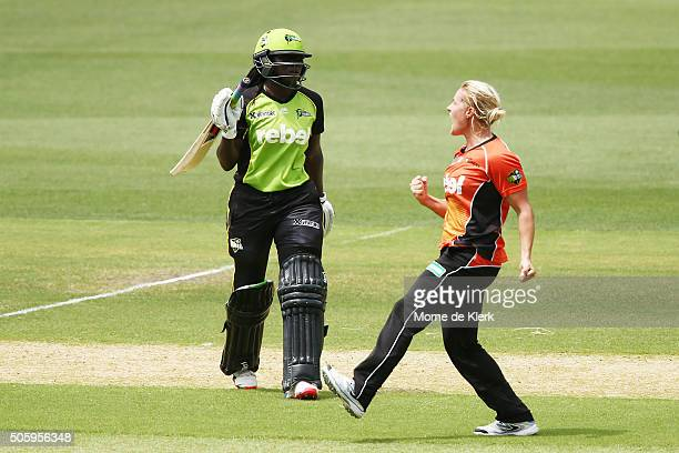 Katherine Brunt of the Perth Scorchers celebrates getting the wicket of Stafanie Taylor of the Sydney Thunder during the Women's Big Bash League...
