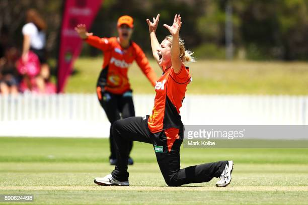 Katherine Brunt of the Scorchers appeals successfully for the wicket of Sarah Aley of the Sixers during the Women's Big Bash League match between the...