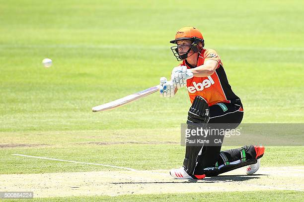 Katherine Brunt of the Scorchers bats during the Women's Big Bash League match between the Perth Scorchers and the Brisbane Heat at Aquinas College...