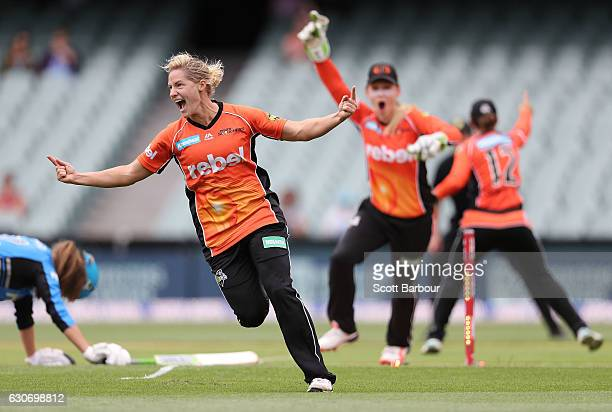 Katherine Brunt of the Scorchers celebrates after running out Alex Price of the Strikers during the WBBL match between the Strikers and Scorchers at...