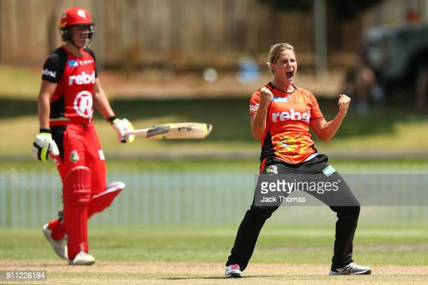 Katherine Brunt of the Scorchers celebrates bowling out Claire Koski of the Renegades during the Women's Big Bash League match between the Perth...