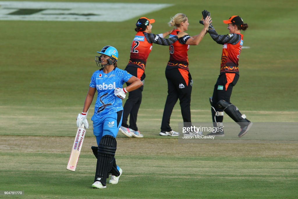 Katherine Brunt of the Scorchers celebrates dismissing Suzie Bates of the Strikers during the Women's Big Bash League match between the Perth Scorchers and the Adelaide Strikers at Traeger Park on January 14, 2018 in Alice Springs, Australia.