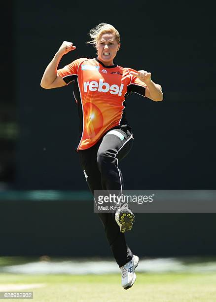 Katherine Brunt of the Scorchers celebrates taking the wicket of Hayley Matthews of the Hurricanes during the Women's Big Bash League match between...