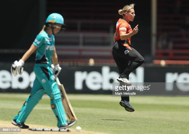 Katherine Brunt of the Scorchers celebrates taking the wicket of Kirby Short of the Heat during the Women's Big Bash League WBBL match between the...