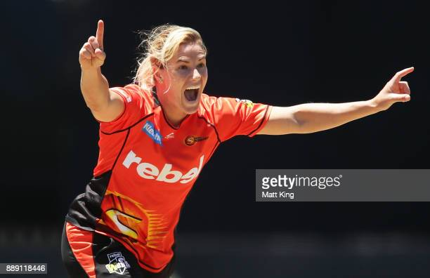 Katherine Brunt of the Scorchers celebrates taking the wicket of Haidee Birkett of the Heat during the Women's Big Bash League WBBL match between the...