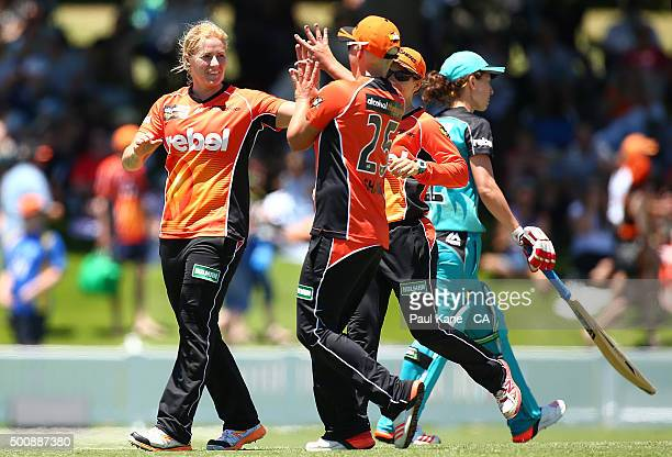 Katherine Brunt of the Scorchers celebrates the wicket of Courtney Hill of the Heat during the Women's Big Bash League match between the Perth...