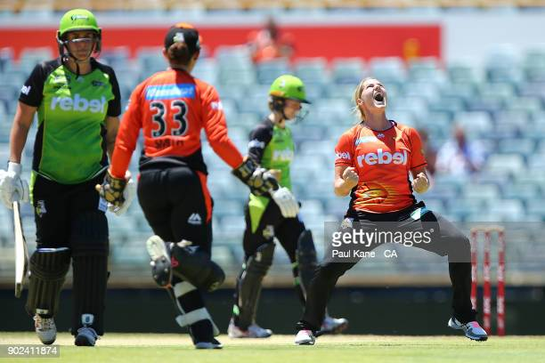 Katherine Brunt of the Scorchers celebrates the wicket of Rachel Priest of the Thunder during the Women's Big Bash League match between the Perth...