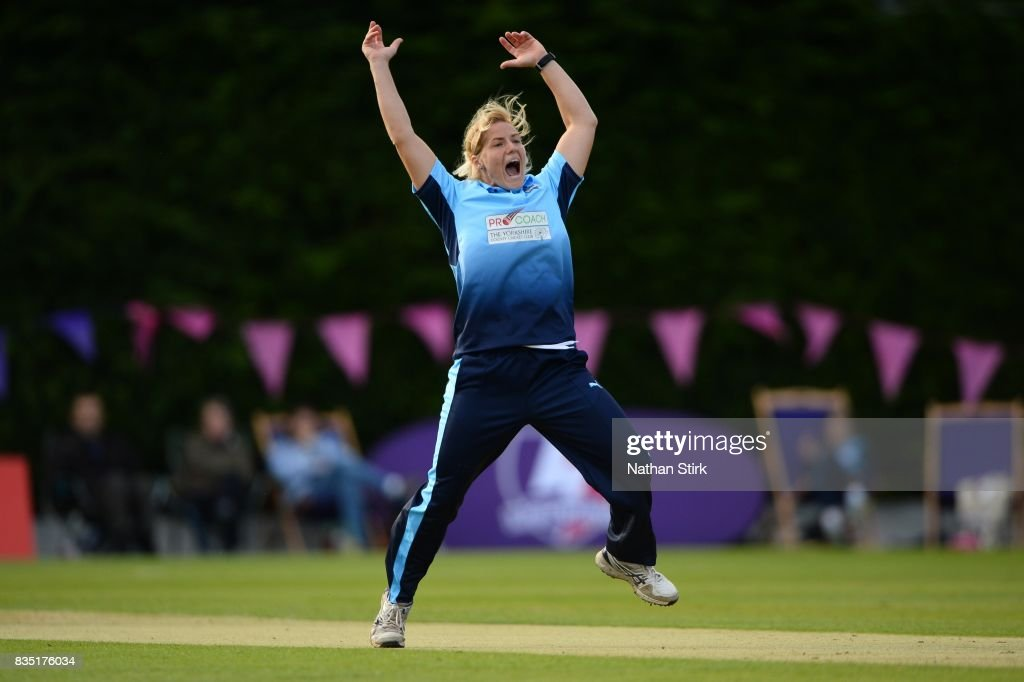 Katherine Brunt of Yorkshire appeals during the Kia Super League 2017 match between Loughborough Lightning and Yorkshire Diamonds at The Haslegrave Cricket Ground on August 18, 2017 in Loughborough, England.