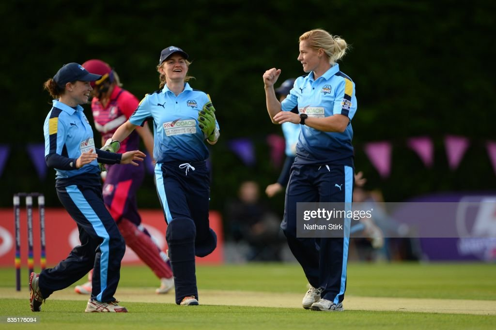 Katherine Brunt of Yorkshire celebrates during the Kia Super League 2017 match between Loughborough Lightning and Yorkshire Diamonds at The Haslegrave Cricket Ground on August 18, 2017 in Loughborough, England.