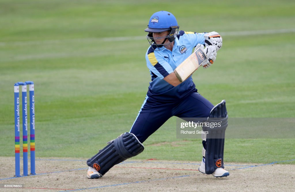 Katherine Brunt of Yorkshire Diamonds batting during the Kia Super League between Yorkshire Diamonds v Western Storm at York on August 20, 2017 in York, England.