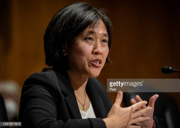Katherine C. Tai speaks during the Senate Finance committee hearings to examine her nomination to be United States Trade Representative, with the...