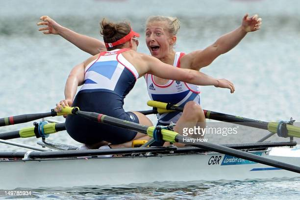 Katherine Copeland and Sophie Hosking of Great Britain celebrate winning gold in the Lightweight Women's Double Sculls Final on Day 8 of the London...