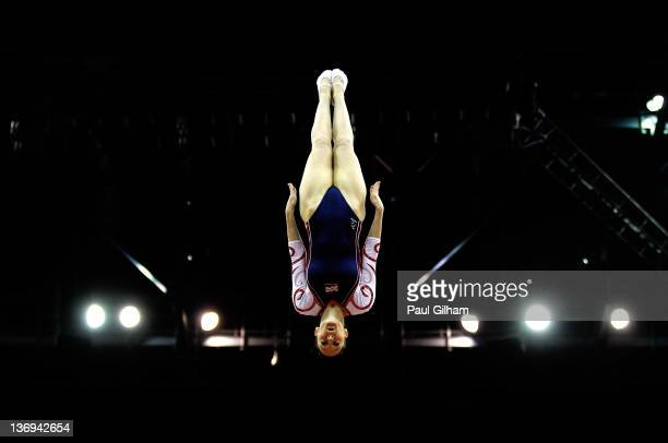 Katherine Driscoll of Great Britain in action in the final round during the Gymnastics Trampoline Olympic Qualification at North Greenwich Arena on...