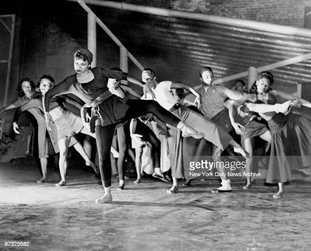 Katherine Dunham and her group of dancers rehearse for Cabin in the Sky a musical comedy at the Martin Beck Theatre