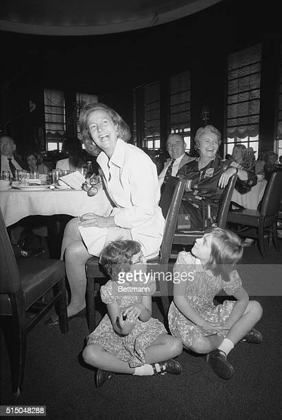 Katherine Graham publisher of the Washington Post appears to enjoy herself as she watches over her grandchildren Pamela and Katherine 8 during...