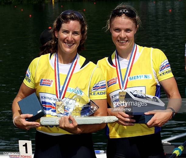 Katherine Grainger and Anna Watkins of Great Britain celebrate after winning gold in the Women's Double Sculls Final during the FISA Rowing World Cup...