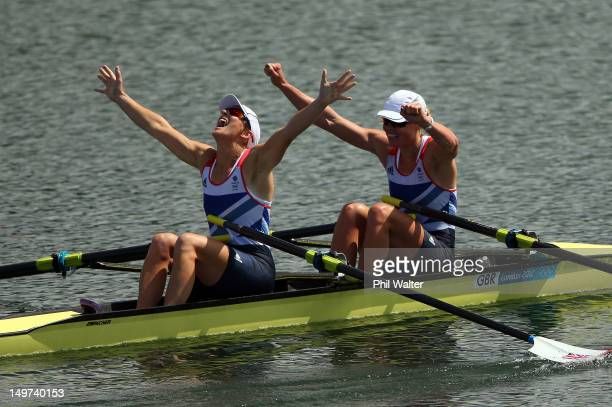 Katherine Grainger and Anna Watkins of Great Britain celebrate after winning gold in the Women's Double Sculls final on Day 7 of the London 2012...
