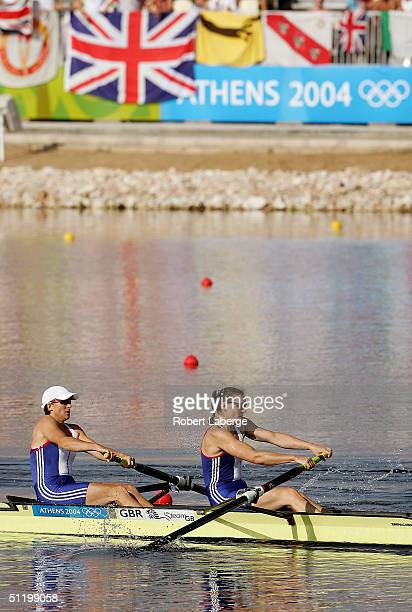 Katherine Grainger and Cath Bishop of Great Britain row their way to a Silver medal in the women's pair final on August 21 2004 during the Athens...