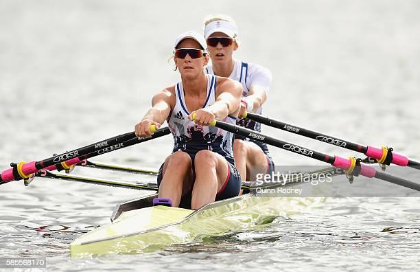 Katherine Grainger and Vicky Thornley of Great Britain train at Lagoa Rodrigo de Freitas on August 3 2016 in Rio de Janeiro Brazil