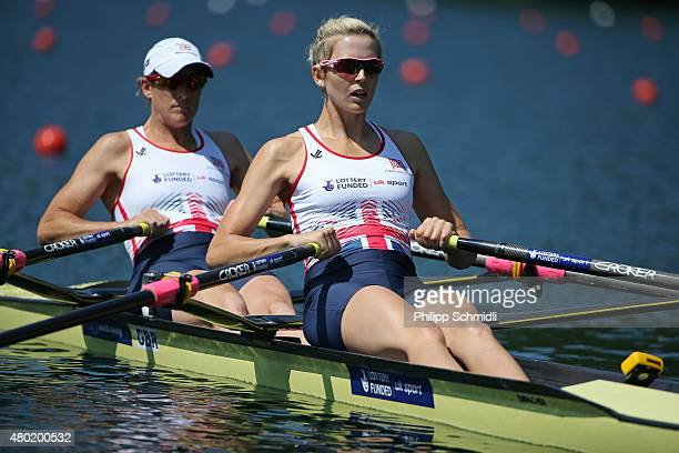 Katherine Grainger and Victoria Thornley of Great Britain compete in the Women's Double Sculls heats during Day 1 of the 2015 World Rowing Cup III on...