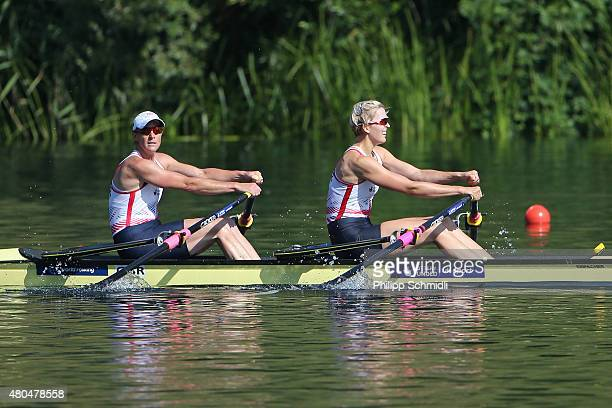 Katherine Grainger and Victoria Thornley of Great Britain compete in the Women's Double Sculls Final B during Day 3 of the 2015 World Rowing Cup III...