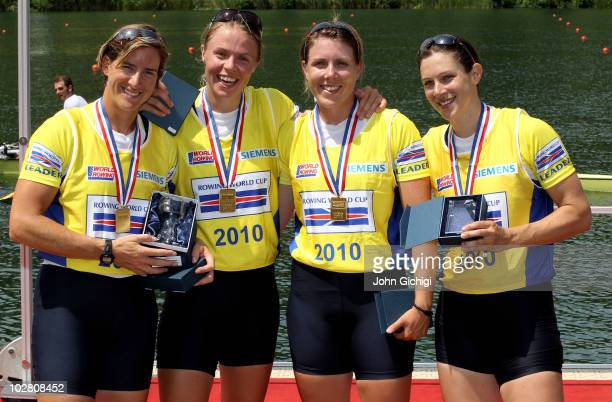 Katherine Grainger Anna Watkins Beth Rodford and Annabel Vernon of Great Britain celebrate with their gold medals after winning the Women's Quadruple...