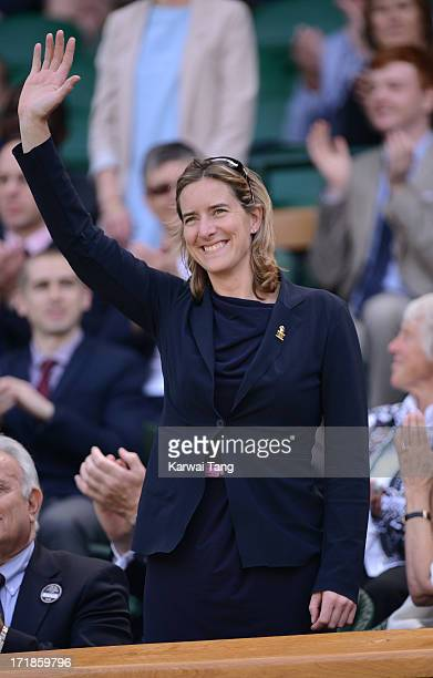 Katherine Grainger attends on Day 6 of the Wimbledon Lawn Tennis Championships at the All England Lawn Tennis and Croquet Club on June 29 2013 in...